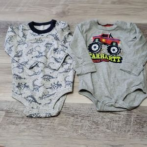 2 Boys 12-18 mo. Onesie long sleeved Shirts